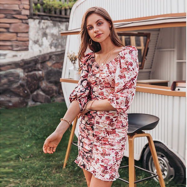 Holiday patchwork floral women mini dress Sexy pleated lantern sleeve bodycon dress Spring short party pencil dress 2020