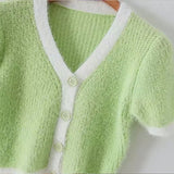 Knitted green cardigan crop top women v neck short sleeve purple cardigan summer fashion sexy female pink cardigan top