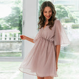 Sexy v-neck women ruffle pink dress Elegant dot print backless short sundress Summer office ladies casual mini dress