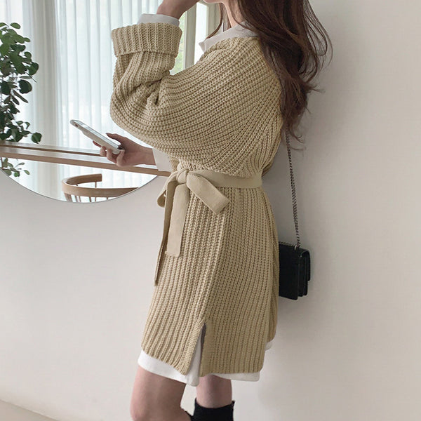 Casual v-ncck women knitted dress Autumn winter long sleeve lace up mini dress Solid color straight female sweater dress