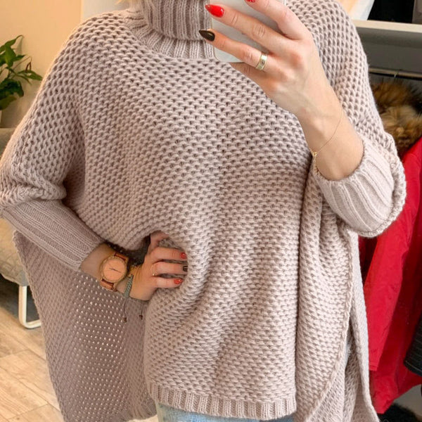 Simplee Casual turtleneck women sweater Bat sleeve loose asymmetrical knitted sweater High street style ladies pullover jumper