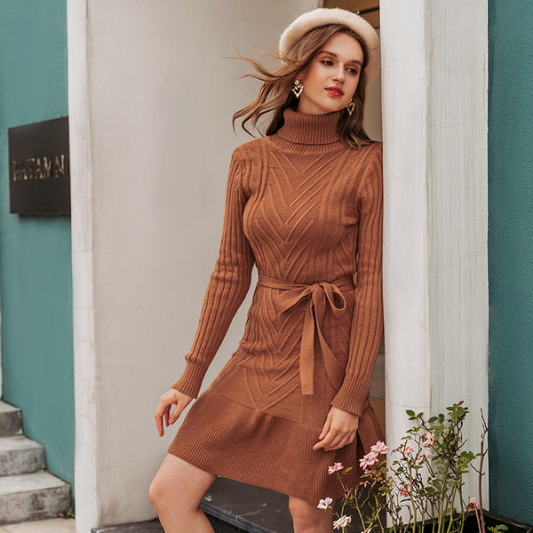 Casual Turtleneck women knitted dress Autumn winter long sleeve lace up dress elegant style female sweater dress 2020