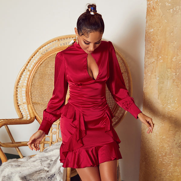 Ruffle long sleeve sexy party dress women hollow out burgundy bodycon club mini dress elegant ladies chic vintage dress