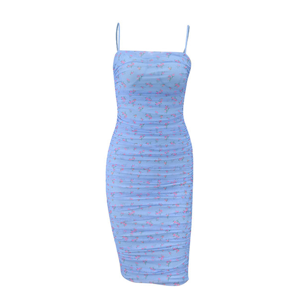 Floral print strapless bodycon dress women sleeveless pleated summer mesh sexy dress elegant party club midi dress 2020