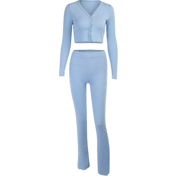 Knitted blue bodycon suit sets women sexy crop top and pant two piece suit female 2020 streetwear fashion club outfits
