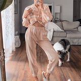 Causal light apricot autumn winter women suit sets Two-pieces tie dye female long pants Elegant v-neck knitted suit set