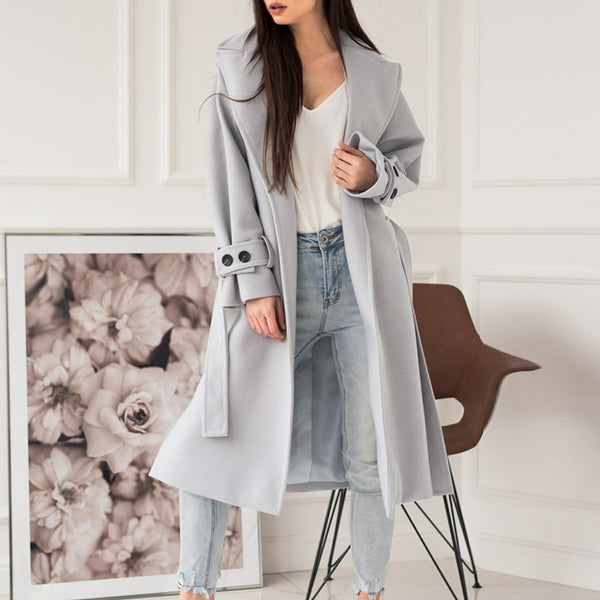 Elegant light grey autumn winter female long coat Office lady off shoulder sleeve overcoat Causal lace up fashion coat