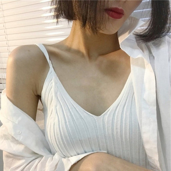 Sexy V-neck tank top women Knitted one size sleeveless ladies basic vest Streetwear autumn tight elasticity camis tops
