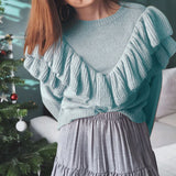Simplee Casual o-neck women knitted sweater Long sleeve ruffled female sweater Autumn winter fashion ladies pullover jumper