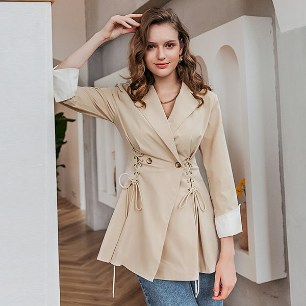 Simplee Causal khaki autumn women trench coat Female elegant long sleeve coat Women solid long coat with Drawstring windbreaker
