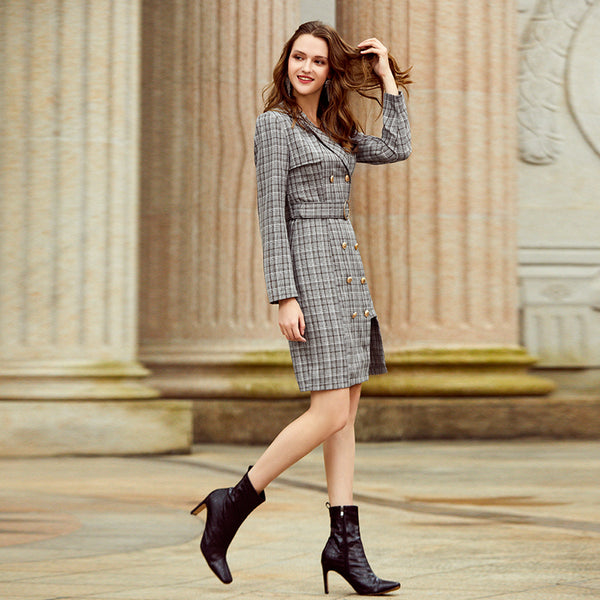 Elegant plaid double breasted belt women dress Left and right bottom asymmetry midi dress Office autumn winter dress new