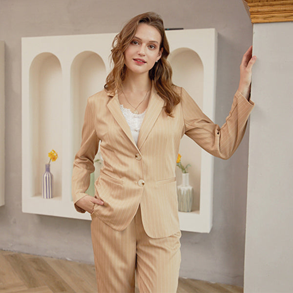 Simplee Causal khaki autumn winter women suit sets Office lady two-pieces stripe long pants Elegant tailored collar suit set
