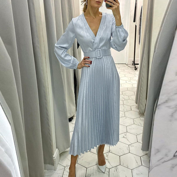 Elegant blue pleated women party dress A line floral printed female office dress Autumn winter long sleeve blazer dress