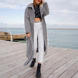 Notched plaid woolen straight long coat Houndstooth streetwear belt with pocket Drop-shoulder sleeve outwear autumn