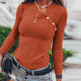 Simplee Sexy slant collar women's shirt Stripe slim button women's top Fashion high street style shirt Autumn winter 2020 new