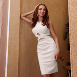 Glamaker Sexy knit white sleeveless dress women hollow out bodycon short dress elegant ladies midi party club tight dress 2020