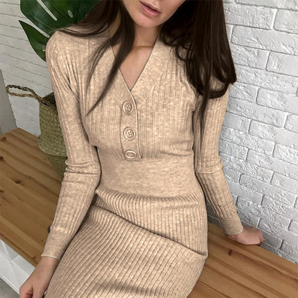 Commute v-neck button women dress Long sleeve solid apricot female Splicing dress High street style ladies midi dress