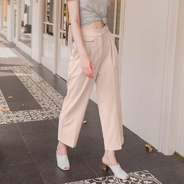 Casual solid pleated button mid waist women pants Pockets loose elasticity straight trousers women Elegant autumn pants