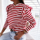 Simplee Causal Long Sleeve Red White Striped Tops For Female Autumn Winter Ruffled Base Shirt 2020 Streetwear O-neck Women Tops