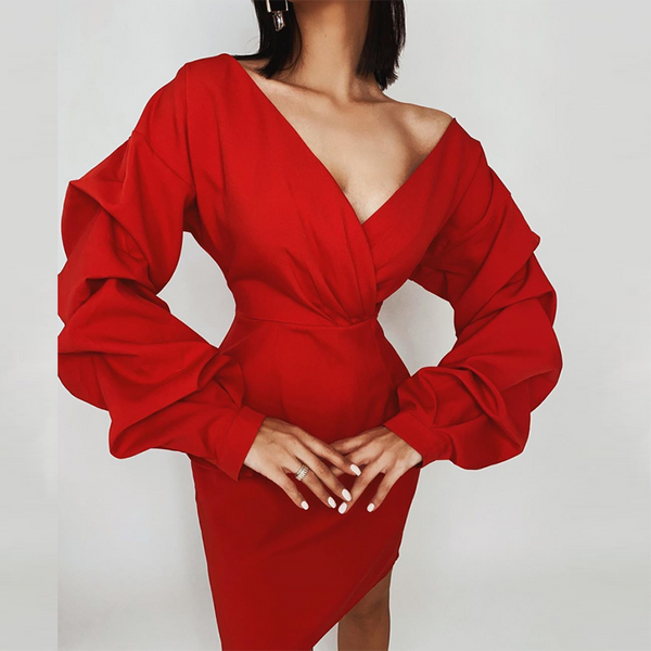 Red long sleeve sexy dress women deep v neck high waist autumn party club dress elegant vintage ladies mini dress 2020
