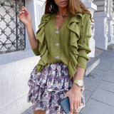Elegant green autumn winter women knitted cardigan Causal v-neck ruffle long sleeve sweater Fashion female cardigan