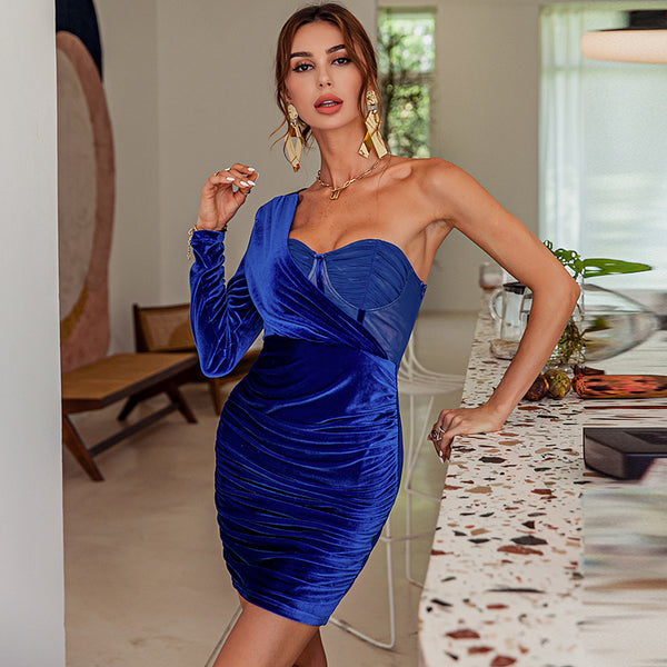 Glamaker Mesh velvet patchwork one shoulder mini dress Women chic blue sexy shir bodycon short dress Elegant party club vestidos