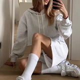 Fashion grey two piece short Hooded Sweatshirt high waist drop shoulder sleeve lace up casual Suit Shorts Set autumn