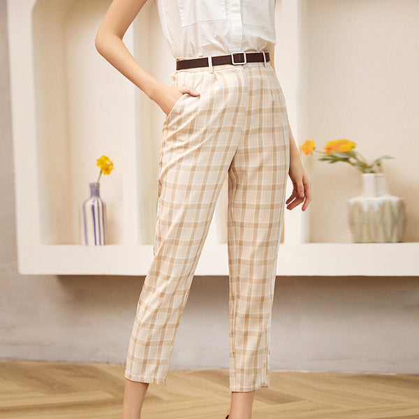 Chic mid waist pleated plaid women pants Button elastic slim trousers female Casual autumn winter pants ladies 2020 new