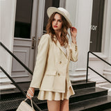 Casual single button solid blazer Women's Sets Mid waist A-line skirt two piece set Fashion women 2 Piece skirt sets