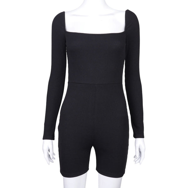 Knitted Square collar bodycon short palysuit Women slim black casual basic romper White new elegant short junmpsuit