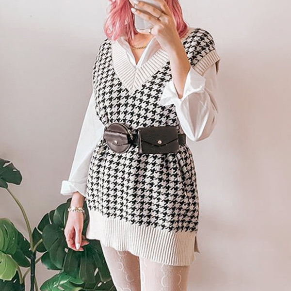 Houndstooth knitted sweater vest women V neck sleeveless oversized pullover vintage Fall winter female waistcoat sweater