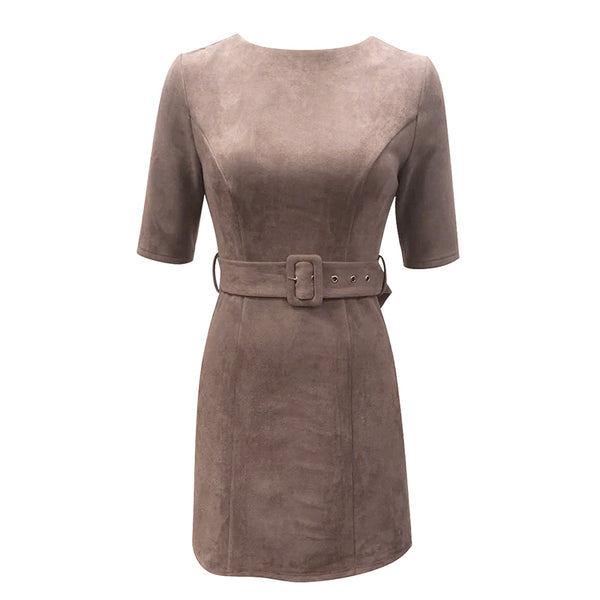 Simplee A-line Fitted Suede Leather Dress Women Short Sleeve Solid Dress with Belt Office Ladies Autumn Winter Bodycon Dress