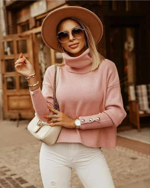 White warm knitted Women's turtleneck Loose button Women's jumper Winter Pullover High street style oversized sweater