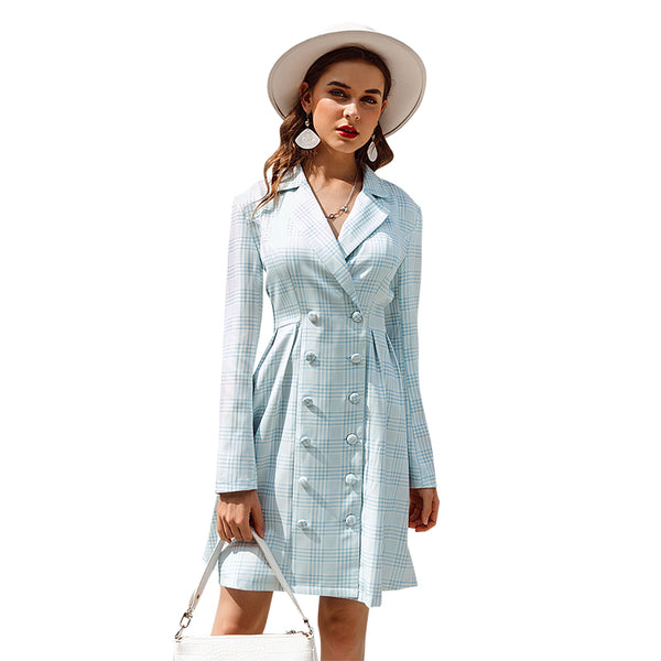 Elegant long sleevele female button dress Office ladies blue blazer dress Autumn winter high street chic party dress