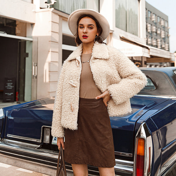 Elegant pink shaggy women faux fur coat streetwear Autumn winter warm plush women coat Female office ladies overcoat