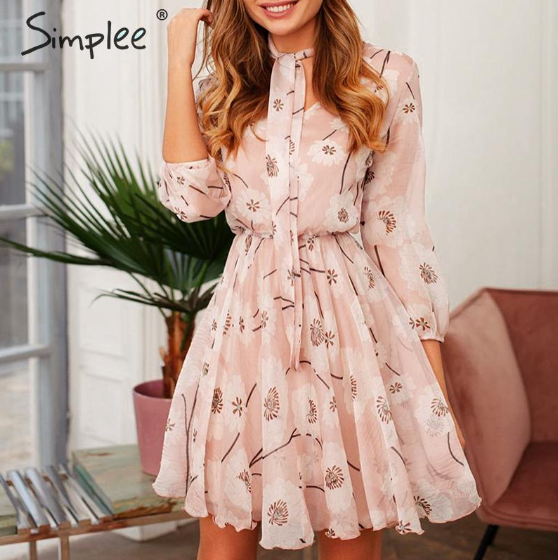 Vintage boho short mini dress high waist floral print work wear office lady dress Casual long sleeve spring party dress