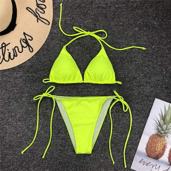 Brazilian micro bikini String sexy bathing suit women bathers Triangle thong swimsuit female biquinis neon swimwear 2019