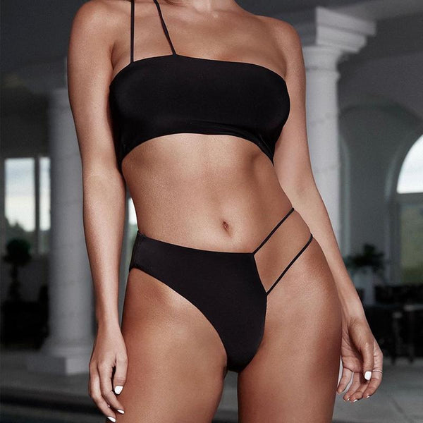 Sexy leopard print woman bikinis 2019 mujer bathers High cut swimwear women biquini Bandeau top swimsuit female Beachwear