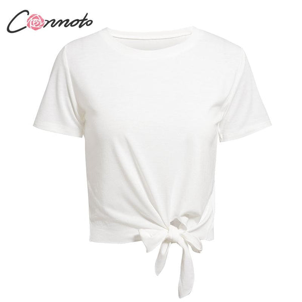Women Solid White T-shirts Summer 2019 Casual Bow Female T-shirts Girls High Fashion Basic O-Neck T-shirt