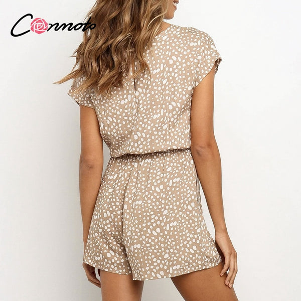 Conmoto bow sleeveless wide leg women short jumpsuits rompers casual loose bow tie playsuits leopard sleeveless short rompers