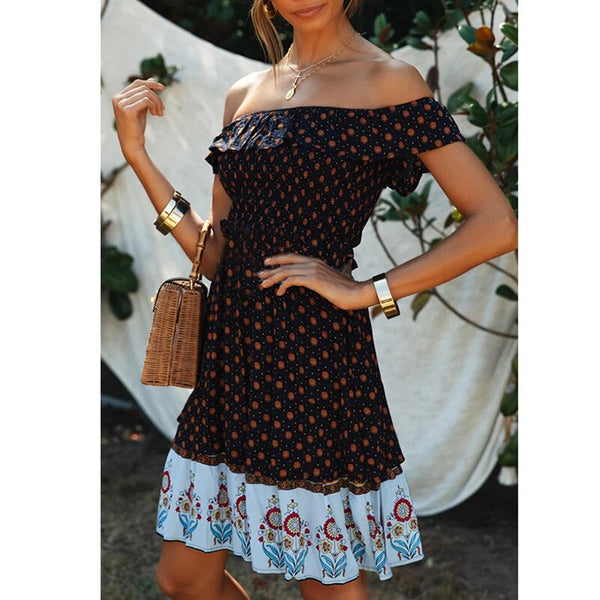 Women Casual Boho Print Short Holiday Dress Ladies Sexy Off Shoulder Ruffle Beach Summer Mini Dress Feminino Vestidos
