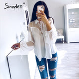sexy mesh chiffon women blouse shirt casual lace up female top shirt Lantern sleeve white blouse summer 2020 tops shirt