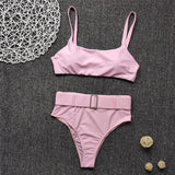 Sexy bandeau bikini set 2020 Solid pink swimwear women High waist swimsuit female Belt bathing suit Summer bathers biquini new