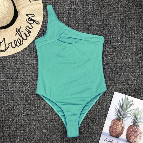 Ribbed swimwear women 2020 One shoulder swimsuit female one piece bodysuit Hollow out bathing suit monokini Solid swimming suit