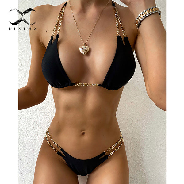 Micro triangle bikini set Halter swimwear women 2020 Hollow out swimsuit female bathers two piece High cut bathing suit biquini