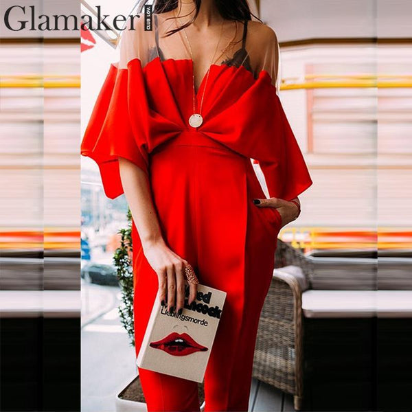 Sexy patchwork pleated long jumpsuit Women winter bodycon red jumpsuit romper Female vintage jump suit playsuit overall