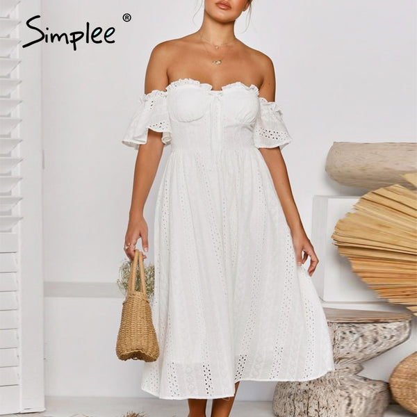 Holiday off shoulder women white cotton dress Elegant ruffle sleeve A-line female sundress Beach style ladies midi dress