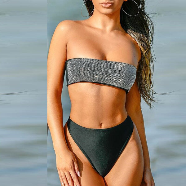 High waist bikini shiny Bandeau top swimwear women Diamond bathing suit 2020 woman swimsuit female Fashion summer bathers new