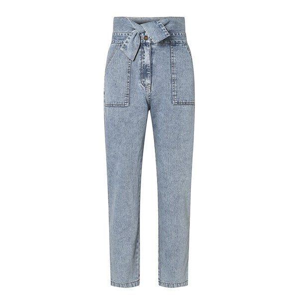 Women Jeans Casual High Street High Waist Jeans Female Fashion Knot Pockets Denim Pants 2020 Spring Summer Long Capris