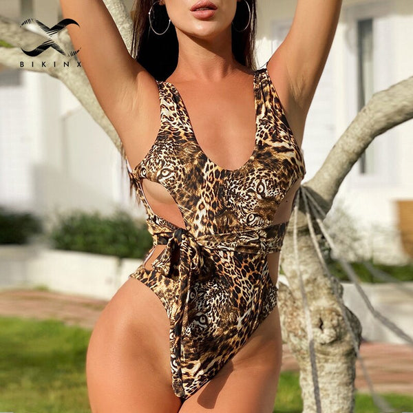 Leopard print sexy one piece swimsuit female monokini 2020 new Hollow out bandage swimwear women bathing suit High cut bodysuits